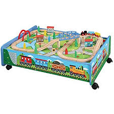 thomas the train wooden track table amazon com 62 piece wooden train set with train table trundle