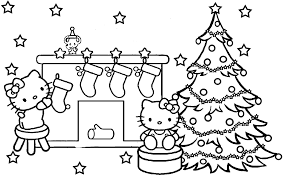 coloring pages good christmas color pages kitty