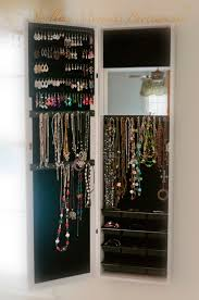 mirror jewelry armoire cabinet over door organizer or wall hang