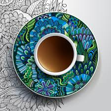 ethnic pattern ornaments and coffee cups vector 04 millions