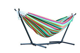 vivere combo double cotton hammock with space saving steel stand