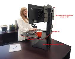 victor dc350 high rise dual monitor sit stand desk converter