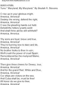 time song lyrics for 59 war hymn