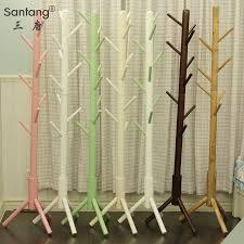 three tang happy tree branches wood floor coat rack modern