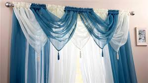 Washing Voile Curtains Teal U0026 Ivory Voile Swags U0026 Curtain Panels 9 Peice Set 48