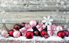red christmas decorations wooden wall snow desktop wallpaper