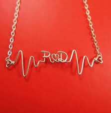 Necklace With Initials Pinjeas Heartbeat Necklace With Initials Custom Name Diy Handmade