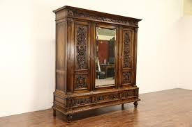 Closet Armoire Sold Italian Renaissance 1900 Antique Carved Walnut Armoire