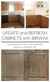 how to modernize honey oak cabinets update and refresh cabinets with briwax inbetweenchaos