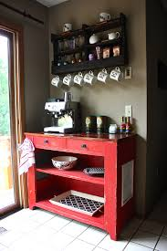 At Home Bar 14 Tips For Diying A Coffee Bar At Home Repurposed Shelves And Pies