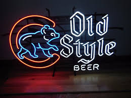 l k chicago cubs baseball bear old style beer neon light up sign