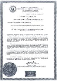 article of incorporation and by laws
