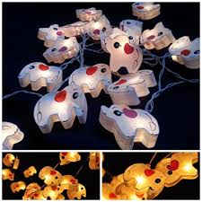 white elephant string light hanging lantern paper indoor night