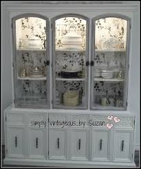 restoring a buffet hutch with wallpaper hometalk
