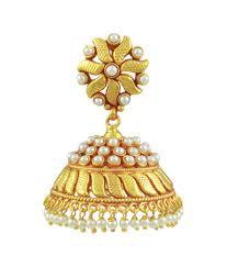 jhumki style earrings orniza south indian style pearl jhumki earrings buy orniza south