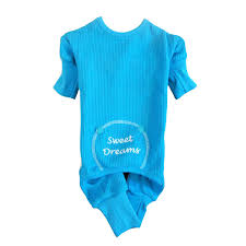 sweet dreams embroidered pajamas by doggie design blue with