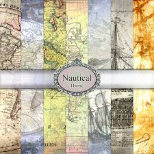 Paper Maps Digital Paper Nautical Maps Vintage Texture Set Pack Old World
