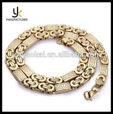 pattern gold necklace images Mens gold color flat byzantine greek pattern link stainless steel jpg