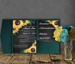 Sunflower Wedding Invitations Sunflower Wedding Invitation Template Pocketfold Invitation Suite