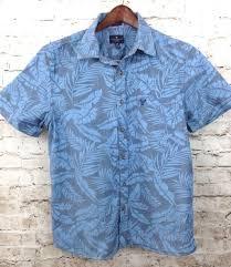 american eagle mens large blue hawaiian shirt button front slim