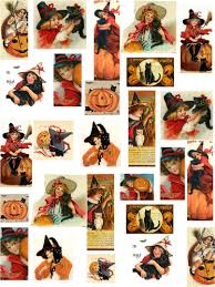 decoupage paper vintage halloween kids collage sheet