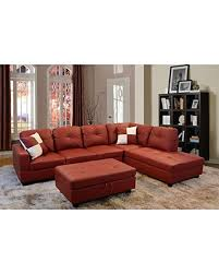 Sectional Sofa With Ottoman Tis The Season For Savings On Lifestyle Red 3 Piece Faux Leather