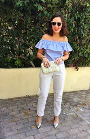 light blue off the shoulder top gingham and sparkle get ready for some summer shoulder action
