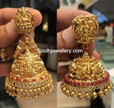 antique gold jhumka earrings antique gold jhumkas jewellery designs