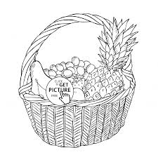 basket with different fruits coloring page for kids fruits