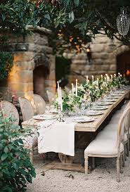 Rustic Backyard Wedding Ideas Rustic Wooden Table And White Candles For Beautiful Backyard