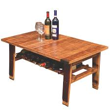 Wine Barrel Bar Table Furniture Wooden Barrel Coffee Table For Rustic Living Room