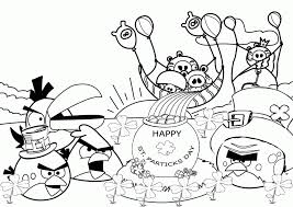 angry birds happy birthday coloring pages printable coloring