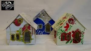putz glitter house ornament using recycled cards with