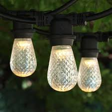 Commercial Patio String Lights by 100 Ft Black Commercial Medium String Light With Led S14 Warm