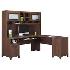 l shaped dark brown wooden desk with racks and drawers also door