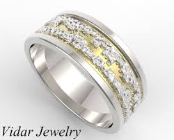 two tone mens wedding bands hammered two tone gold wedding band mens vidar jewelry unique