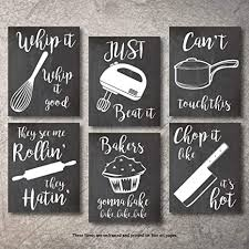 black and white prints for kitchen home decor gift 6 kitchen wall prints kitchenware with sayings unframed farmhouse home office organization signs bar accessories decorations