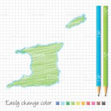 Trinidad Map Trinidad And Tobago Map Sketch With Color Pencils Grid Paper Stock