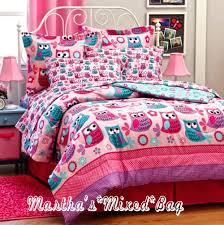 girls bedding full hoot owls girls pink teal nature flowers twin full queen size