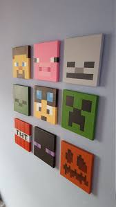 deco chambre minecraft minecraft wall set of 9 canvases small 8 x 8 mural
