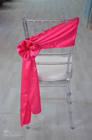 chair sash ties hot sale 300pc lots cheap fancy fuchsia self tie plain dyed satin