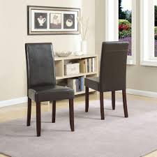 set of 4 dining room chairs simpli home acadian tanners brown faux leather parsons dining