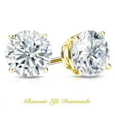 back diamond earrings simulated diamond earrings 14k 18k solid gold yellow white