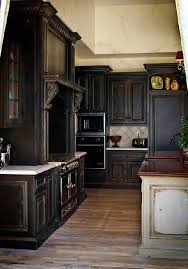 Black Rustic Kitchen Cabinets Gorgeous Kitchen Pretty Distressed Black Cabinets In Rustic