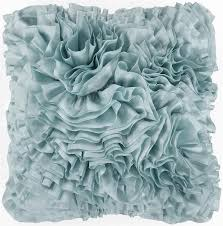 light blue accent pillows blue ruffled down throw pillow 2 sizes available