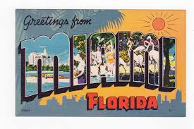 linen postcard greetings from miami florida large letter