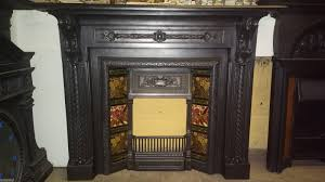 victorian cast iron fireplace mantel surround with victorian tiled