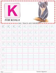 capital letter writing practice worksheet alphabet k download