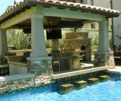 backyard designs with pool and outdoor kitchen plan your lawn