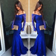royal blue lace prom dress simple off the shoulder prom dresses